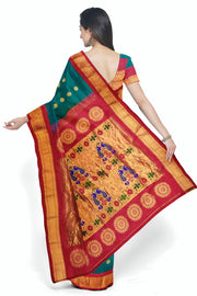 Buy Turquoise paithani with red border