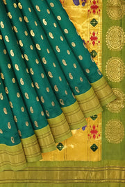 Peacock green paithani with parrot green border