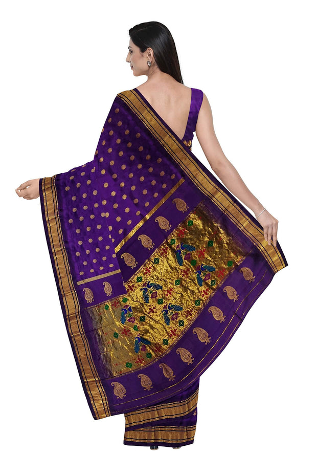 Bluish purple single color paithani