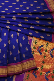 Bluish purple paithani with pink and leaf buttas