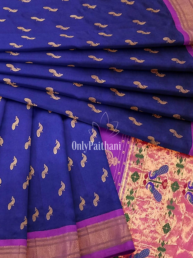 Bluish purple paithani with pink border and peacock butti