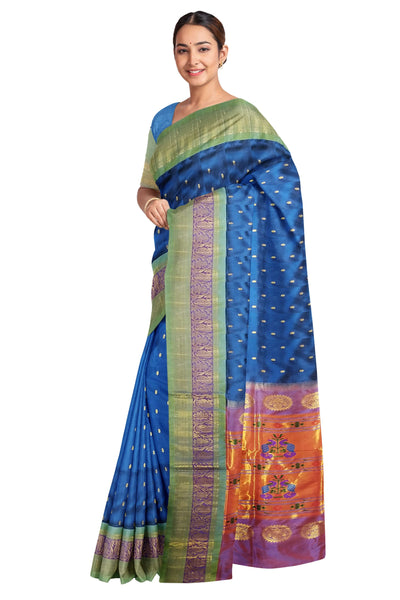 Teal blue maharani paithani with rich border