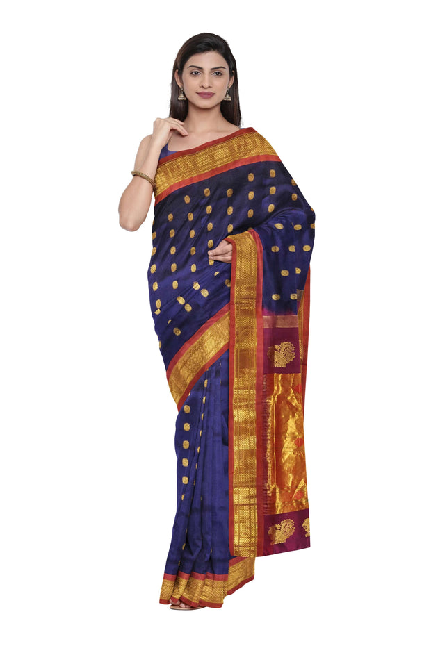 Midnight blue maharani paithani with red border