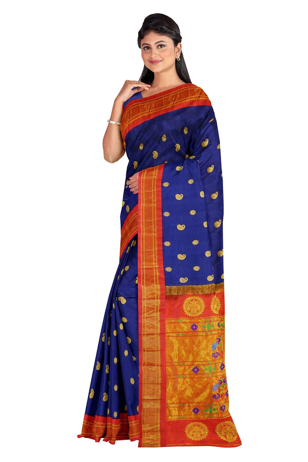 Blue maharani paithani with red border
