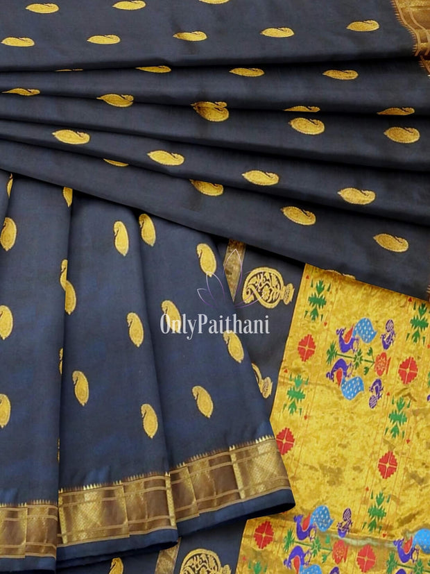 Midnight blue single color paithani