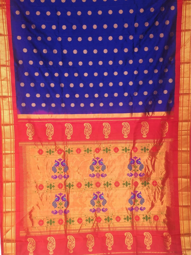 Blue maharani silk paithani with red border