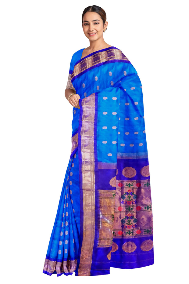 Blue maharani paithani with purple border