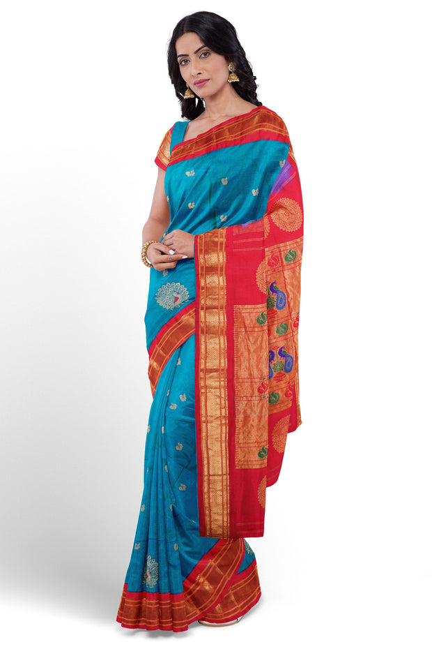 Turquoise silk paithani with red border