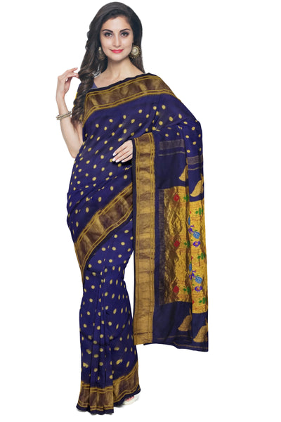 Buy Midnight blue paithani in single color