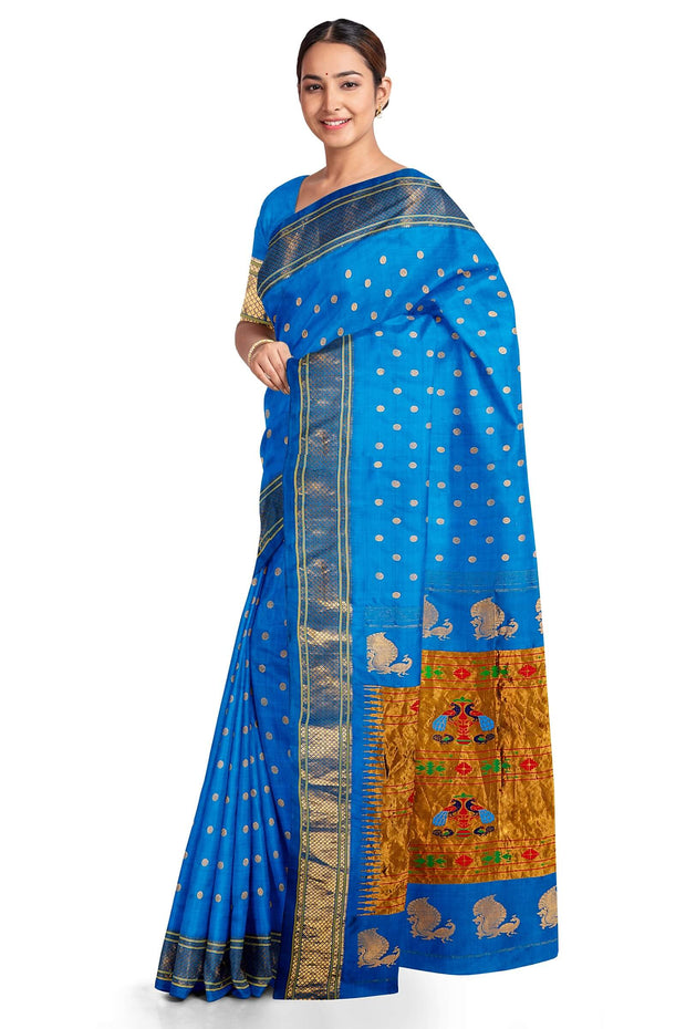 Teal blue single color paithani