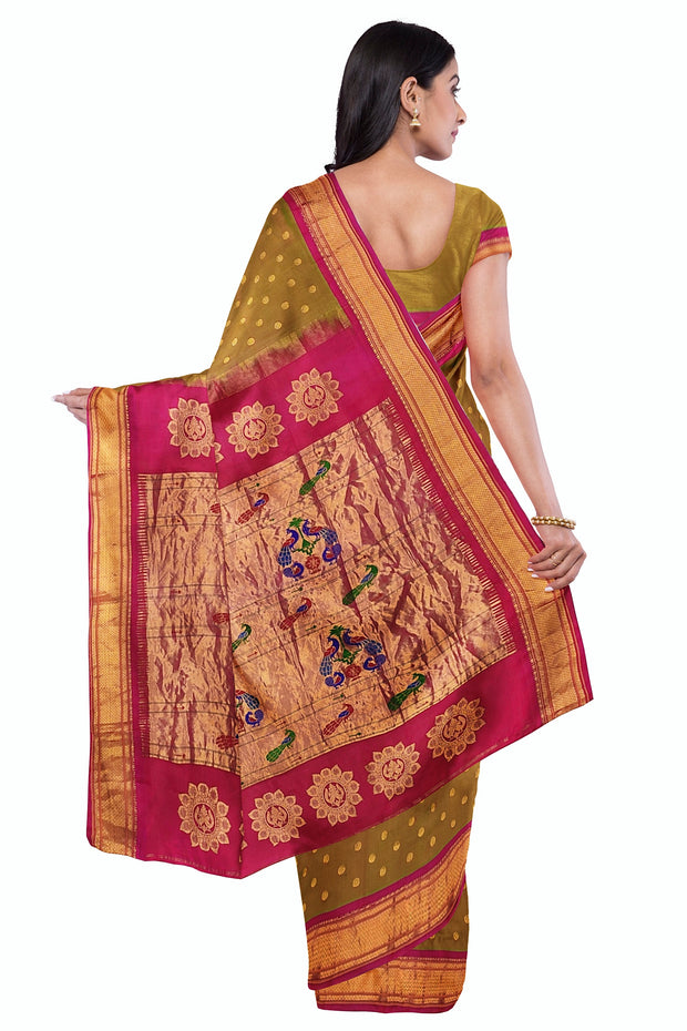 Moss green pure silk paithani with pink border