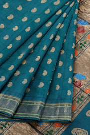 Peacock blue paithani in single color