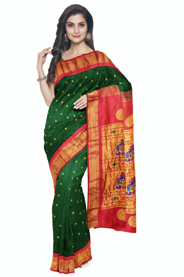 Bottle green silk paithani with red border