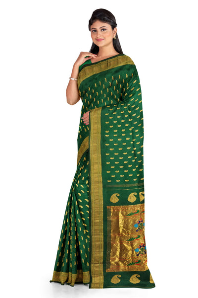 Bottle green single color paithani