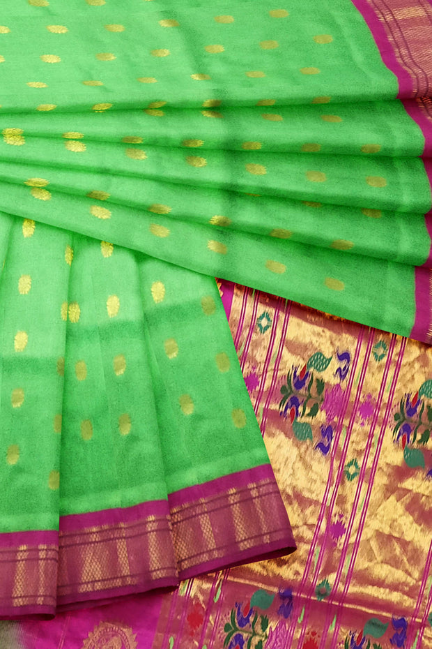 Pista green paithani with pink border