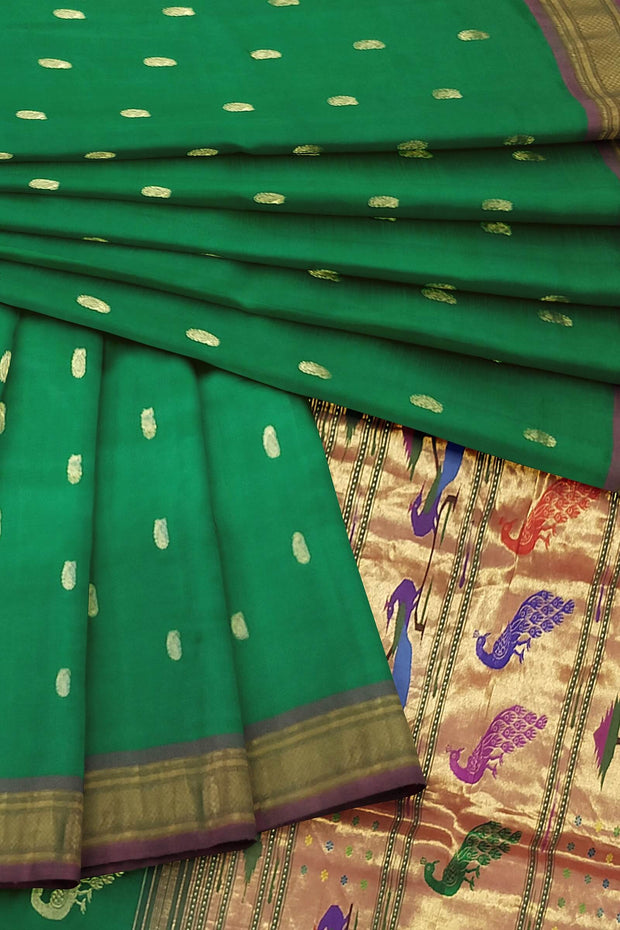 Green paithani with rich pallu