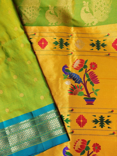 Parrot green maharani paithani with blue border