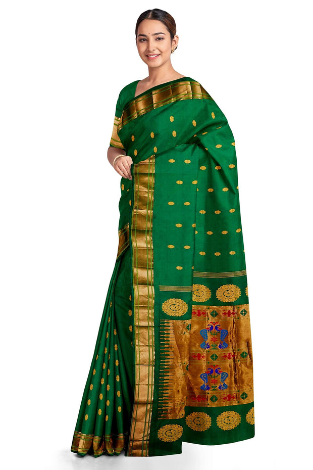 Bottle green maharani paithani with single border