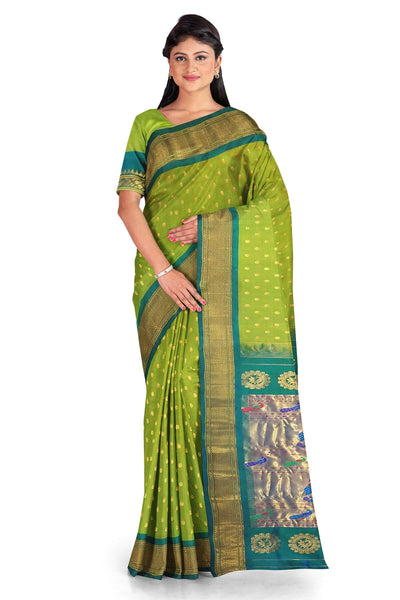 Parrot green pure paithani with turquoise border