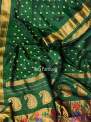 Bottle green single color pure silk paithani