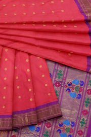 Pink paithani with purple border