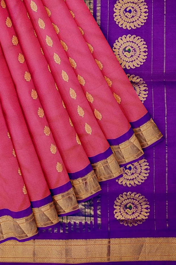 Peach pink paithani with blue border