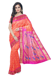 Buy Peach pink paithani with pink border