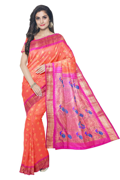 Two tone peach pink paithani with pink border