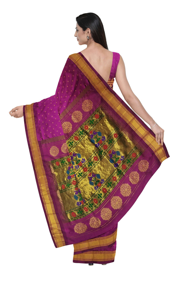 Wine single color pure silk paithani
