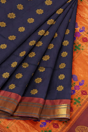 Midnight blue paithani with copper border