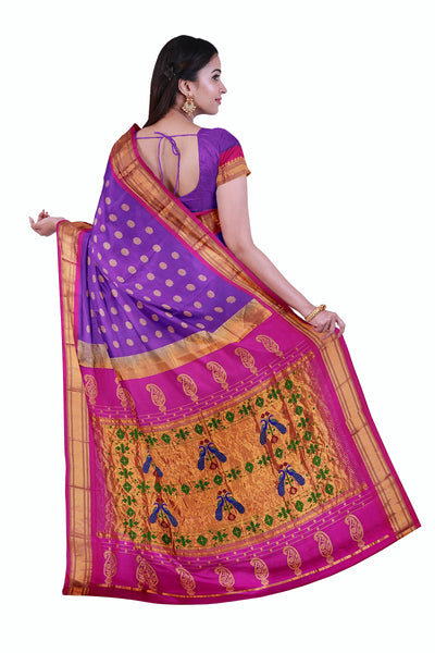 Two tone mauve paithani with pink border