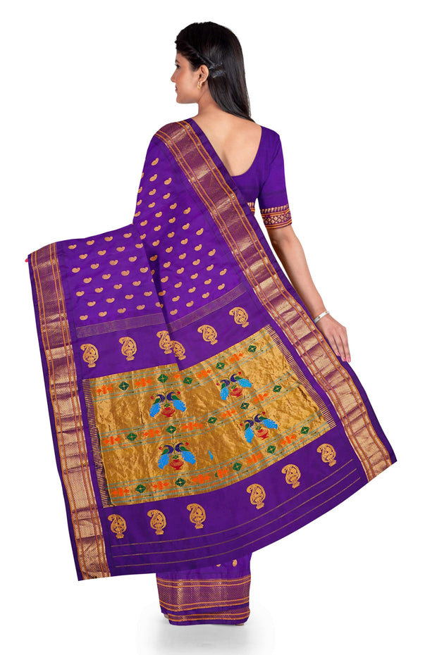 Purple paithani in single color