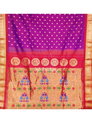 Purple maharani paithani with red border