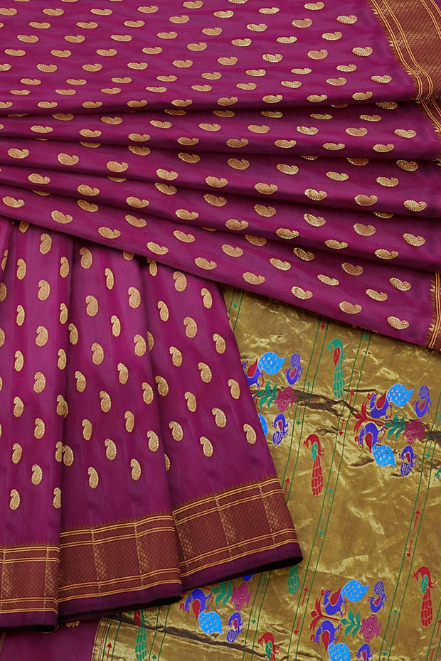 Wine single color paithani