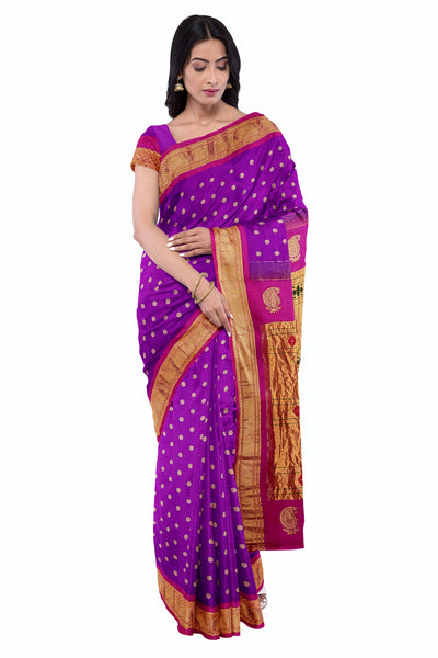 Purple paithani with pink border