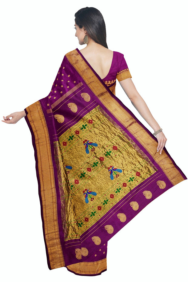 Wine paithani in single color