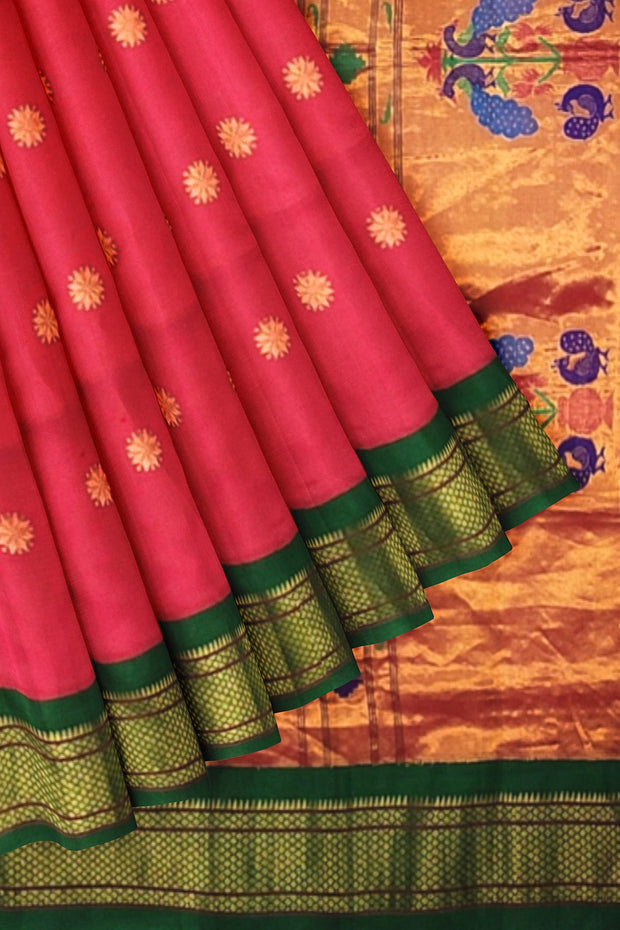 Red paithani with green border
