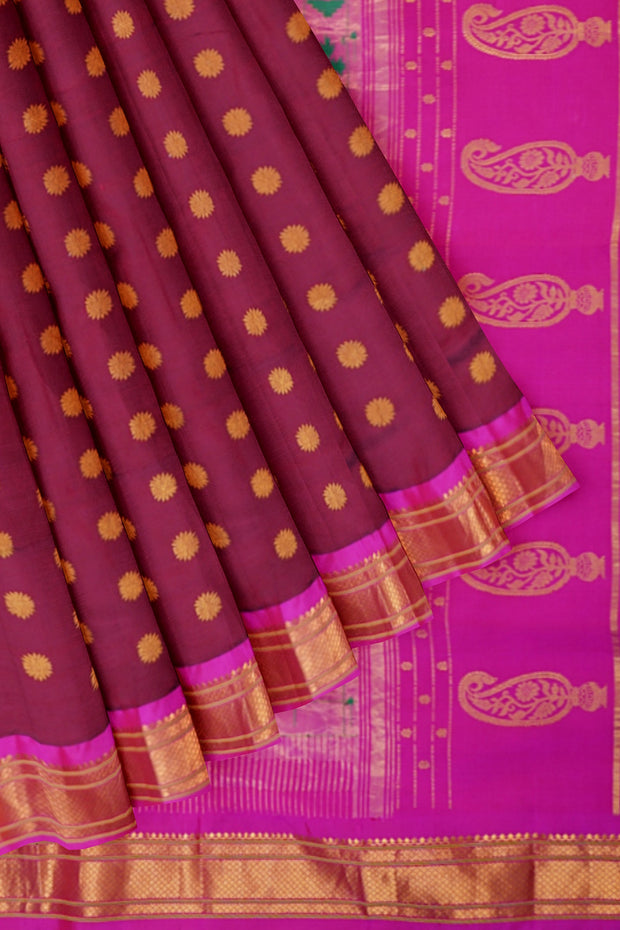 Deep wine paithani with pink border