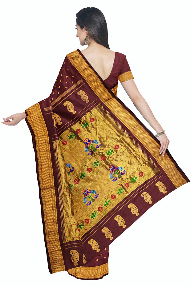 Maroon pure silk paithani in single color