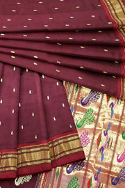 Maroon paithani with red border