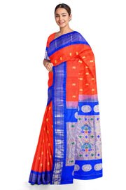 Red maharani paithani with blue border