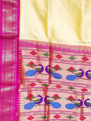 Butterscotch yellow pure silk rich pallu paithani