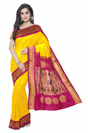 Buy Yellow paithani with pink border