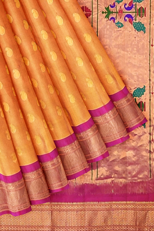Golden mustard paithani with pink border