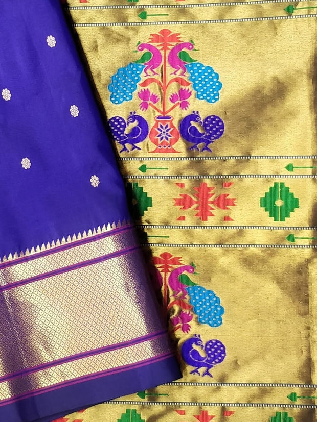 Bluish Purple Single Color Nine Yard Silk Paithani