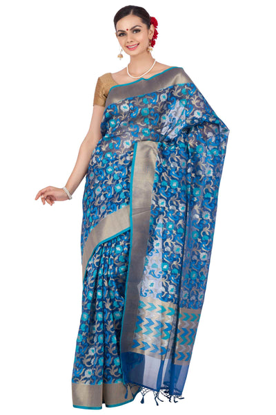 Blue organza saree