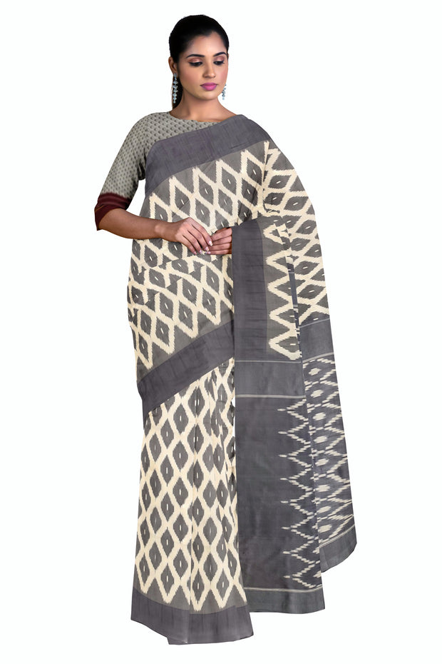 Grey pochampally saree