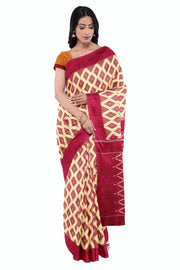 Reddish pink pochampally saree