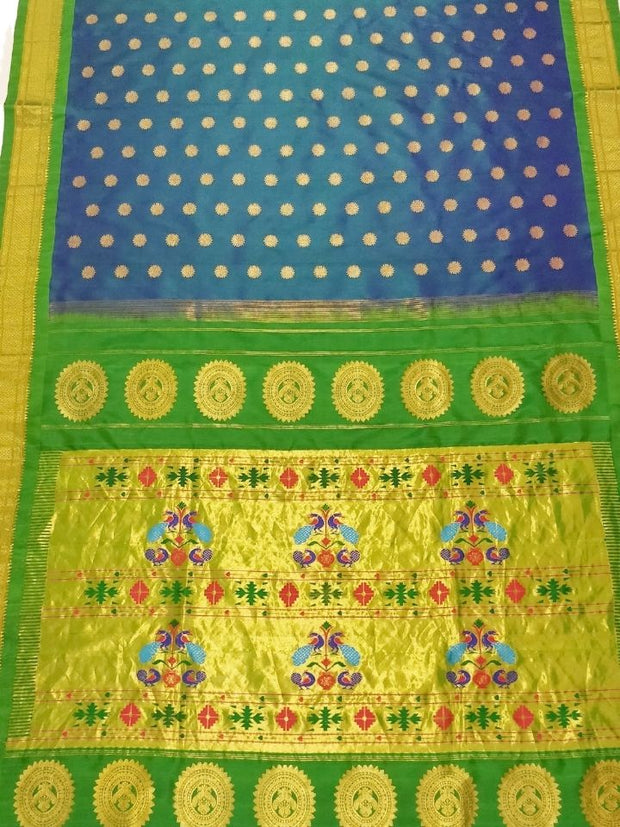 Peacock blue silk paithani with green border