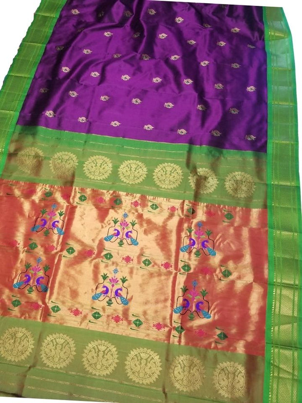 Purple peacock butti paithani with green border